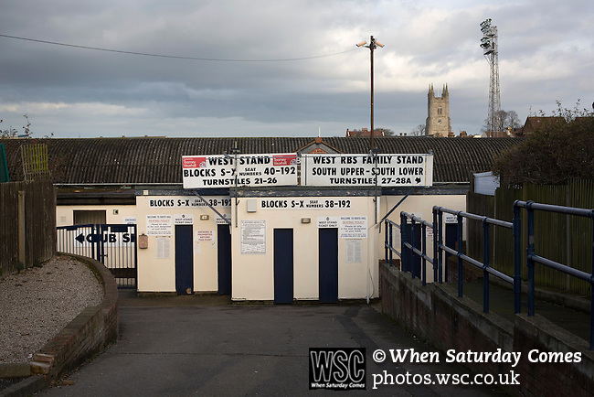 Southend United 1 Burton Albion 1, 22/02/2016. Roots Hall, League One. An exterior view of the west stand entrance to Roots Hall, pictured before Southend United took on Burton Albion in a League 1 fixture. Founded in 1906, Southend United moved into their current ground in 1955, the construction of which was funded by the club's supporters. Southend won this match by 3-1, watched by a crowd of 6503. Photo by Colin McPherson.