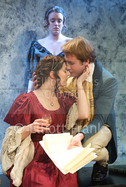 Bloody Poetry<br /> by Howard Brenton<br /> at The Jermyn Street Theatre, London, Great Britain <br /> press photocall<br /> 2nd February 2012<br /> <br /> David Sturzaker (as Lord Byron)<br /> Joanna Christie (as Claire Clairemont)<br /> Joe Bannister (as Shelley)<br /> Rhiannon Sommers (as Mary Shelley)<br /> Emily Glenister (as Harriet Westbrook)<br /> Nick Trumble (as Dr William Polidori)<br /> <br /> directed by Tom Littler<br /> <br /> Photograph by Elliott Franks