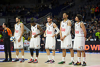 Real Madrid´s Felipe Reyes, Kevin Rivers, Rudy Fernandez, Gustavo Ayon and Sergio Llull during 2014-15 Euroleague Basketball match between Real Madrid and Galatasaray at Palacio de los Deportes stadium in Madrid, Spain. January 08, 2015. (ALTERPHOTOS/Luis Fernandez) /NortePhoto /NortePhoto.com