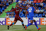 Allan-Romeo Nyom of Getafe CF and Anthony Nwakaeme of Trabzonspor during UEFA Europa League match between Getafe CF and Trabzonspor at Coliseum Alfonso Perez in Getafe, Spain. September 19, 2019. (ALTERPHOTOS/A. Perez Meca)