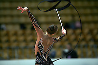 "Valeria Shurkhal of Ukraine performs with ribbon at 2008 World Cup Kiev, ""Deriugina Cup"" in Kiev, Ukraine on March 22, 2008."
