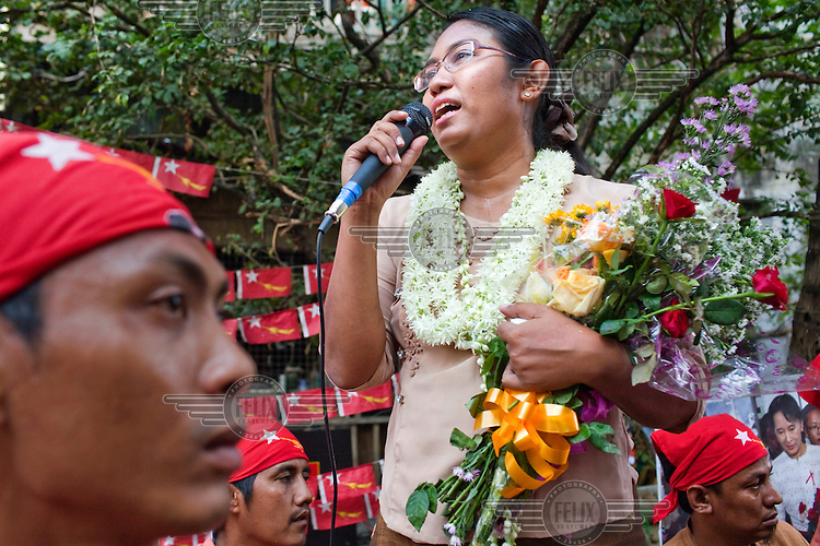 Phyu Phyu Thin, National League for Democracy candidate (NLD), campaigns ahead of by-elections in Yangon.