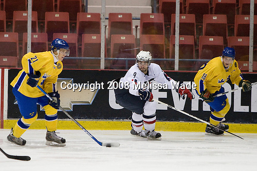 Nicklas Lasu (Sweden 21), Nick Petrecki (US White - 9), Joakim Andersson (Sweden 18) - Team Sweden defeated Team USA White 7-3 on Friday, August 8, 2008, in the 1980 Rink during the 2008 US National Junior Evaluation Camp and Summer Hockey Challenge in Lake Placid, New York.