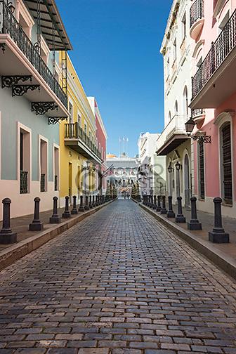 COBBLESTONED STREET CALLE FORTELEZA OLD TOWN SAN JUAN PUERTO RICO