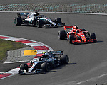 15.04.2018, Shanghai Audi International Circuit, Shanghai, 2018 FORMULA 1 HEINEKEN CHINESE GRAND PRIX, 12.04. - 15.04.2018<br /> im Bild<br />Valtteri Bottas (FIN#77), Mercedes AMG Petronas Formula One Team, Sebastian Vettel (GER#5), Scuderia Ferrari, Lewis Hamilton (GB#44), Mercedes AMG Petronas Formula One Team<br /> <br /><br /> <br /> Foto &copy; nordphoto / Bratic