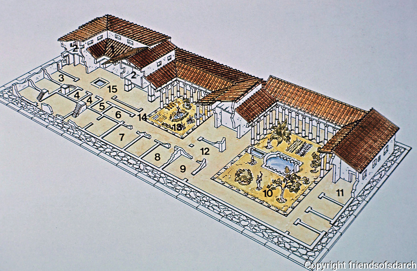 The Villa of the Mysteries, a well-preserved suburban Roman villa on the outskirts of Pompeii, southern Italy.