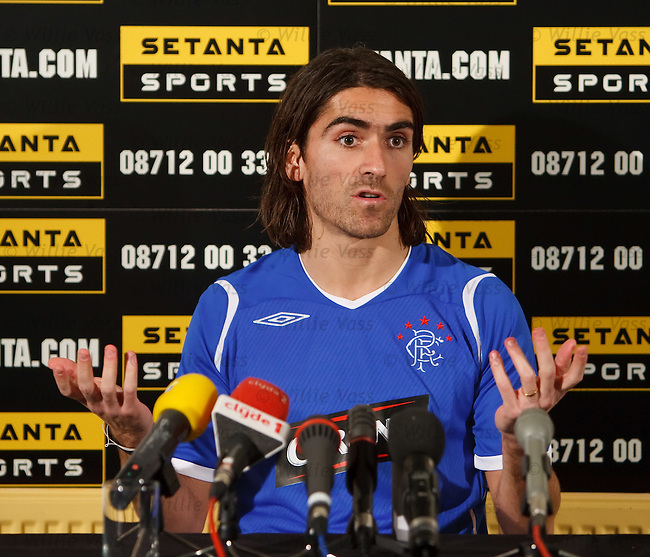 Pedro Mendes speaking at a press conference to promote the Hearts v Rangers match for Setanta TV