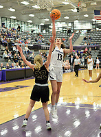 Fayetteville's Sasha Goforth (13) takes a shot in the lane Friday, Jan. 17, 2020, over Bentonville's Riley Hayes during the first half of play in Bulldog Arena in Fayetteville. Visit nwaonline.com/prepbball/ for a gallery from the games.<br /> (NWA Democrat-Gazette/Andy Shupe)