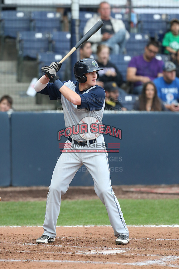 Nate Robertson #26 of the Hillsboro Hops bats against the Vancouver Canadians at Nat Bailey Stadium on July 24, 2014 in Vancouver, British Columbia. Vancouver defeated Hillsboro, 5-2. (Larry Goren/Four Seam Images)