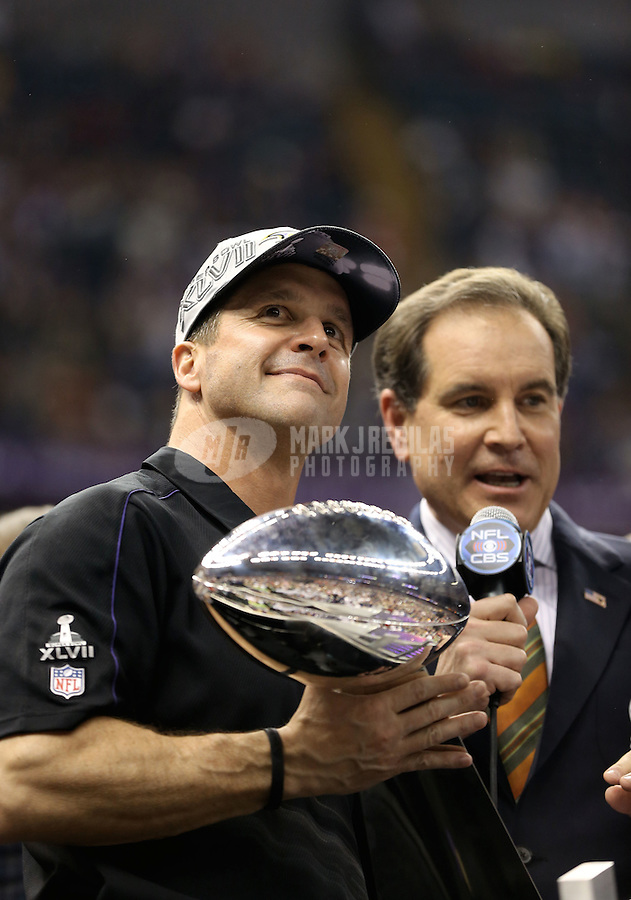Feb 3, 2013; New Orleans, LA, USA; Baltimore Ravens head coach John Harbaugh holds the Vince Lombardi Trophy after defeating the San Francisco 49ers in Super Bowl XLVII at the Mercedes-Benz Superdome. Mandatory Credit: Mark J. Rebilas-