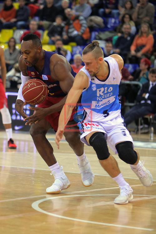 League ACB-ENDESA 2016/2017 - Game: 16.<br /> FC Barcelona Lassa vs Rio Natura Monbus Obradoiro: 100-76.<br /> Joey Dorsey vs Deividas Dulkys.