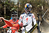 8th September 2017, Smithfield Forest, Cairns, Australia; UCI Mountain Bike World Championships; Loic Bruni (FRA) riding for Specialized Gravity and Mark Wallace (CAN) team Canyon Factory Racing DH wait for the course to clear after a red flag  during downhill practice;