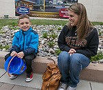 Five-year old Brayden and mom Trisha before the Easter Egg Hunt at Legends in Sparks, Nevada on Saturday, April 20, 2019.