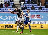 Bolton Wanderers' Will Buckley competing with Wigan Athletic's Sam Morsy <br /> <br /> Photographer Andrew Kearns/CameraSport<br /> <br /> The EFL Sky Bet Championship - Wigan Athletic v Bolton Wanderers - Saturday 16th March 2019 - DW Stadium - Wigan<br /> <br /> World Copyright &copy; 2019 CameraSport. All rights reserved. 43 Linden Ave. Countesthorpe. Leicester. England. LE8 5PG - Tel: +44 (0) 116 277 4147 - admin@camerasport.com - www.camerasport.com