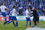 magdeburg nach tor zum 1:0 durch Philip T&uuml;rpitz (Magdeburg, 8) Jubel, Torjubel, jubelt &uuml;ber das Tor, celebrate the goal, celebration beim Spiel in der 3. Liga, 1. FC Magdeburg - Karlsruher SC.<br /> <br /> Foto &copy; PIX-Sportfotos *** Foto ist honorarpflichtig! *** Auf Anfrage in hoeherer Qualitaet/Aufloesung. Belegexemplar erbeten. Veroeffentlichung ausschliesslich fuer journalistisch-publizistische Zwecke. For editorial use only.