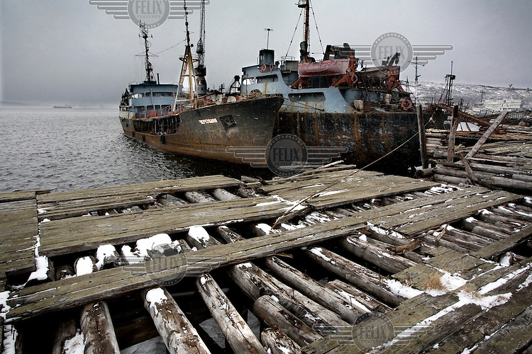 Old shipwrecks, some of which contain nuclear waste, waiting to be dismantled in the Barents Sea.