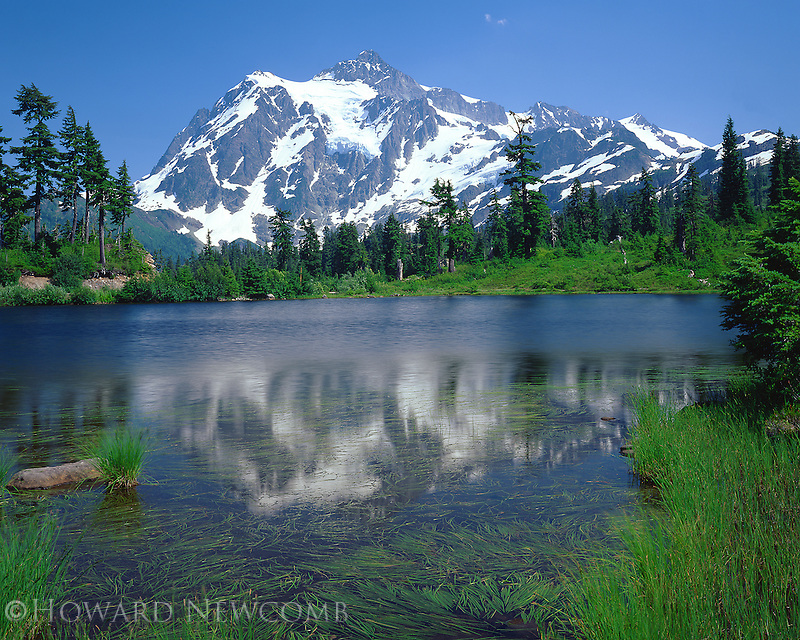 Mount Shuksan reflects in Picture Lake, Washington.