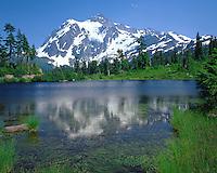 Mount Shuksan reflects in Picture Lake, Washington.