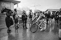 Tony Gallopin (FRA/Lotto-Soudal) finishing in the pouring rain<br /> <br /> stage 12: Lannemezan - Plateau de Beille (195km)<br /> 2015 Tour de France
