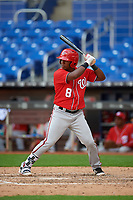 Washington Nationals Leandro Emiliani (8) at bat during a Florida Instructional League game against the Miami Marlins on September 26, 2018 at the Marlins Park in Miami, Florida.  (Mike Janes/Four Seam Images)