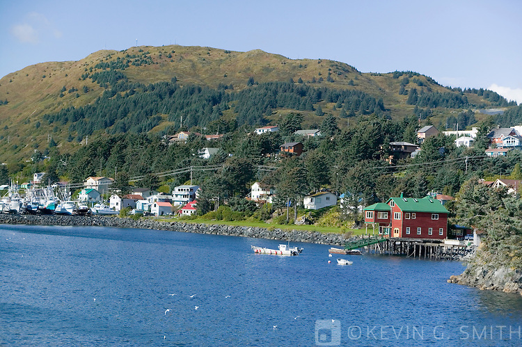 Homes along Chiniak Bak, fall, Kodiak Alaska.