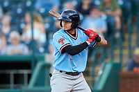 Kole Enright (12) of the Hickory Crawdads at bat against the Ocelotes de Greensboro at First National Bank Field on June 11, 2019 in Greensboro, North Carolina. The Crawdads defeated the Ocelotes 2-1. (Brian Westerholt/Four Seam Images)