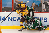 Jake Parenteau (MN - 6), Mark MacMillan (North Dakota - 16), Michael Parks (North Dakota - 15) - The University of Minnesota Golden Gophers defeated the University of North Dakota 2-1 on Thursday, April 10, 2014, at the Wells Fargo Center in Philadelphia to advance to the Frozen Four final.