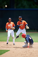 GCL Astros second baseman Sean Mendoza (1) throws to first base to try to complete a double play in front of shortstop Deury Carrasco (6) as Joey Harris (4) slides into second base during a game against the GCL Nationals on August 6, 2018 at FITTEAM Ballpark of the Palm Beaches in West Palm Beach, Florida.  GCL Astros defeated GCL Nationals 3-0.  (Mike Janes/Four Seam Images)