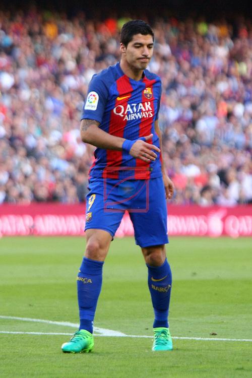 League Santander 2016/2017. Game: 36.<br /> FC Barcelona vs Villarreal CF: 4-1.<br /> Luis Suarez.