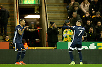 8th November 2019; Carrow Road, Norwich, Norfolk, England, English Premier League Football, Norwich versus Watford; Gerard Deulofeu of Watford celebrates his goal with Roberto Pereyra for 0-1 in the 2nd minute - Strictly Editorial Use Only. No use with unauthorized audio, video, data, fixture lists, club/league logos or 'live' services. Online in-match use limited to 120 images, no video emulation. No use in betting, games or single club/league/player publications
