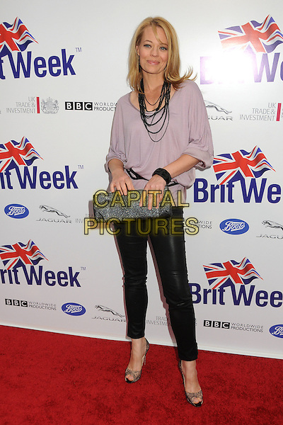 Jeri Ryan.BritWeek 2012 Official Launch held at a Private Residence, Los Angeles, California, USA..April 24th, 2012.full length purple lilac top black necklace leather trousers clutch bag grey gray.CAP/ADM/BP.©Byron Purvis/AdMedia/Capital Pictures.