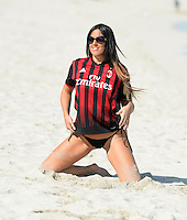 www.acepixs.com<br /> <br /> January 31 2017, Miami FL<br /> <br /> Star of French Reality show Secret Story 9 and winner of the brunette girl of the year 2016 for Playboy Italy Claudia Romani wears an AC Milan jersey and plays football on the beach on January 31 2017 in Miami, Fl. Italian model Claudia Romani has appeared on cmagazine covers such as GQ and Maxim, and once was voted one of the 100 Sexiest Women in the World by FHM Denmark.<br /> <br /> By Line: Solar/ACE Pictures<br /> <br /> ACE Pictures Inc<br /> Tel: 6467670430<br /> Email: info@acepixs.com<br /> www.acepixs.com