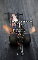 Sept. 17, 2010; Concord, NC, USA; NHRA top fuel dragster driver Antron Brown launches off the starting line during qualifying for the O'Reilly Auto Parts NHRA Nationals at zMax Dragway. Mandatory Credit: Mark J. Rebilas/