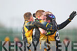 AIB GAA football all-Ireland junior club championship semi-final, Fuerty vs Keel. Held on saturday in Mick Neville Park, Rathkeale.<br /> <br /> Picture of Happiness : Fuerty's players celebrating after the final whistle on saturdy.
