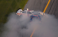 Feb 10, 2007; Daytona, FL, USA; ARCA RE/MAX Series drivers Tim Russell (9) and Damon Lusk (55) crash during the ARCA 200 at Daytona International Speedway. Mandatory Credit: Mark J. Rebilas