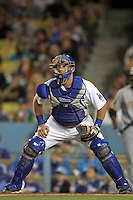 Los Angeles Dodgers catcher Tim Federowicz #31 during a game against the Pittsburgh Pirates at Dodger Stadium on September 17, 2011 in Los Angeles,California. Los Angeles defeated Pittsburgh 6-1.(Larry Goren/Four Seam Images)