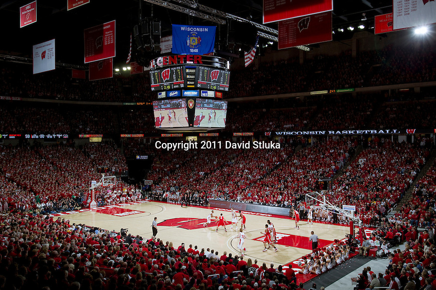 A general view of the Kohl Center during the Wisconsin Badgers Big Ten Conference NCAA men's college basketball game against #1 ranked Ohio State Buckeyes on February 12, 2011 in Madison, Wisconsin. Wisconsin won 71-67. (Photo by David Stluka)