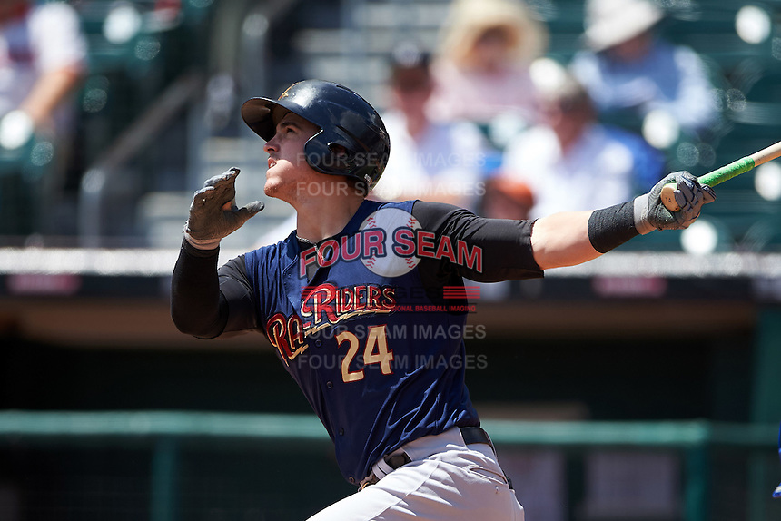 Scranton/Wilkes-Barre RailRiders first baseman Tyler Austin (24) at bat during a game against the Buffalo Bisons on July 2, 2016 at Coca-Cola Field in Buffalo, New York.  Scranton defeated Buffalo 5-1.  (Mike Janes/Four Seam Images)
