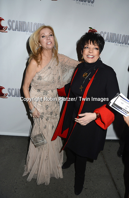 """Kathie Lee Gifford and Liza Minnelli attend the """"Scandalous"""" Broadway Opening on November 15, 2012 at The Neil Simon Theatre in New York City. Kathie Lee Gifford wrote the book and the lyrics."""