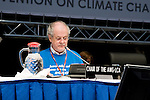 Michael Cutajar, AWG-LCA Chair prepares for his opening speach during the final plenary of the AWG-LCA. Bonn Climate Change talks. (©Robert vanWaarden)
