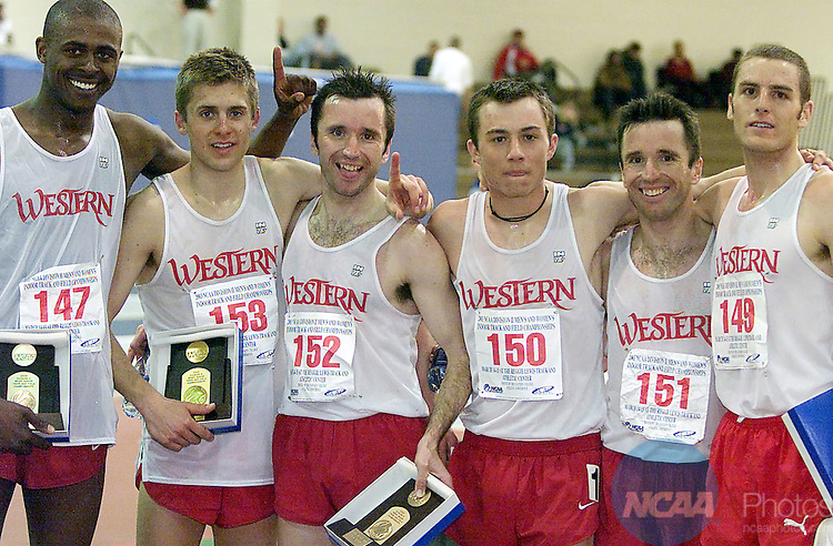 15 MAR 2003:   Western State University's Will Banks, Josh Eberly, Paul McRae, Philip McPherson, Rubin McRae and Scott Negelkerke took the top six positions in the 5000 meter run during the Division 2 Men's Indoor Track and Field Championship held at the Reggie Lewis Center in Boston, MA.  Nagelkerke won the event with a 14:06.22 time.  Rich Baillie/NCAA Photos