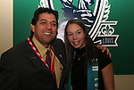 16 January 2009: Kerri Hanks (right), with head coach Jorge Barcellos (left), was taken by Saint Louis Athletica with the sixth overall pick. The 2009 inaugural Womens Pro Soccer (WPS) Draft was held at the Convention Center in St. Louis, Missouri in conjuction with the National Soccer Coaches Association of America's annual convention.