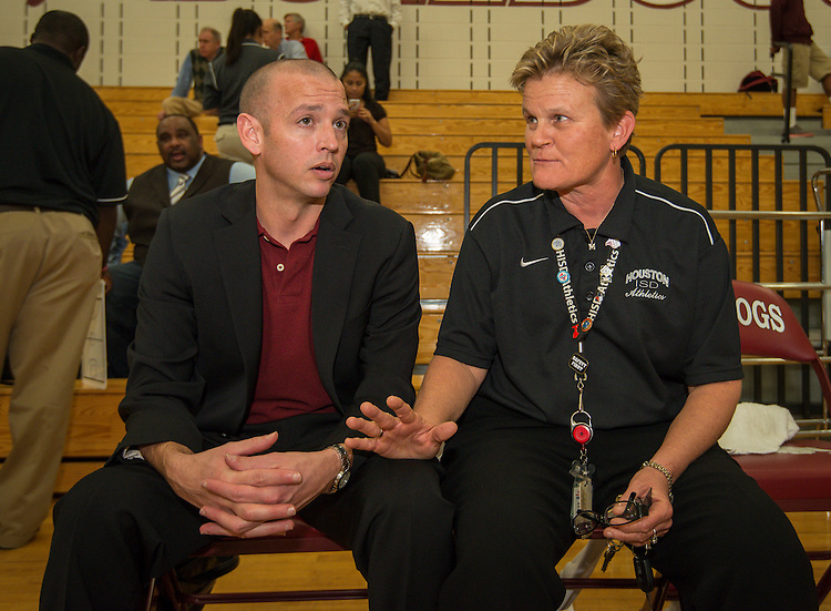 Houston ISD Athletic Director Marmion Dambrino attends a basketball tournament at Reagan High School, December 19, 2013.
