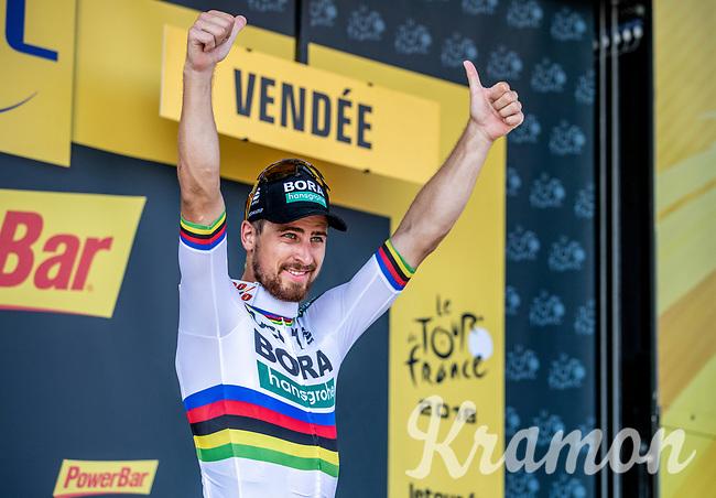 World Champion Peter Sagan (SVK/Bora Hansgrohe) on podium after winning the stage. <br /> <br /> <br /> Stage 2: Mouilleron-Saint-Germain > La Roche-sur-Yon (183km)<br /> <br /> Le Grand Départ 2018<br /> 105th Tour de France 2018<br /> ©kramon