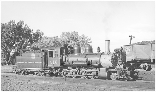 3/4 engineer's-side view of D&amp;RGW #316 in Montrose yard.<br /> D&amp;RGW  Montrose, CO  Taken by Maxwell, John W. - 7/1/1941