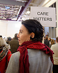 "Westbury, New York, USA. January 15, 2017. A woman holds a ""CARE MATTERS"" sign on a woman stick at the ""Our First Stand"" Rally against Republicans repealing the Affordable Care Act, ACA, taking millions of people off health insurance, making massive cuts to Medicaid, and defunding Planned Parenthood. Hosts were Reps. K. Rice (Democrat - 4th Congressional District) and T. Suozzi (Dem. - 3rd Congress. Dist.)."