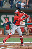 Kevin Maitan (9) of the Orem Owlz bats against the Ogden Raptors at Lindquist Field on August 4, 2018 in Ogden, Utah. The Owlz defeated the Raptors 15-12. (Stephen Smith/Four Seam Images)