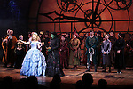 Alli Mauzey and Lindsay Mendez with the cast  during the 10th Anniversary on Broadway Curtain Call for 'Wicked'  at the Gershwin Theatre on October 30, 2013  in New York City.