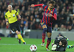 11.12.2013 Barcelona, Spain. UEFA Champions League, Group H Matchday 6. Picture show Neymar da Silva Santos Júnior (L) and Fraser Forster (R)  in action during game between FC Barcelona Against Celtic at Camp Nou