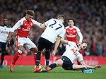 Arsenal's Alex Oxlade-Chamberlain tussles with Tottenham's Jan Vertonghen during the Premier League match at the Emirates Stadium, London. Picture date November 6th, 2016 Pic David Klein/Sportimage